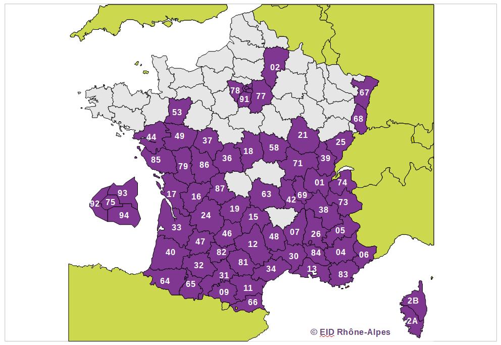 Carte de répartition par département en France
