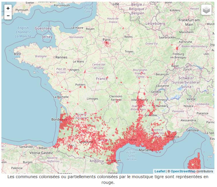 Carte de répartition par commune en France